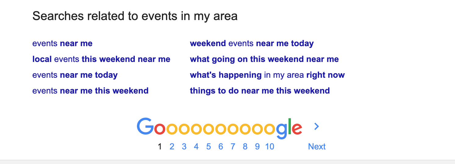 Events Related Search Terms