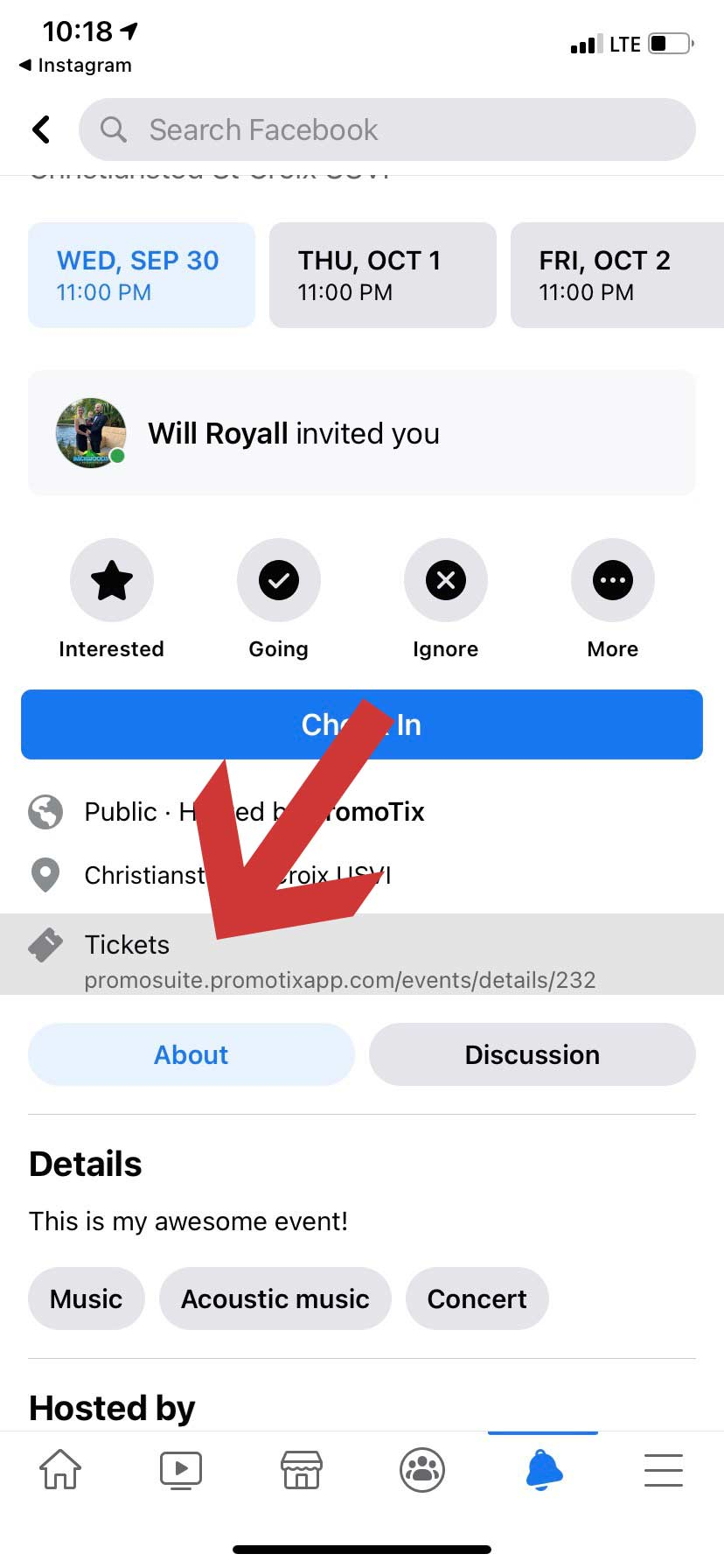 Facebook Mobile Event Page Ticket Link