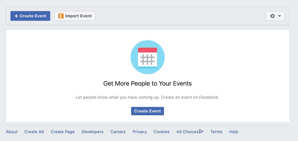 Create Event Button - Facebook Page